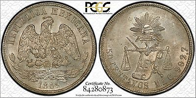 1869 Mexico 50 Centavos PCGS MS63 ... Finest Graded @ PCGS (Conditionally Rare!)