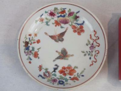 18Th C Chinese Porcelain Famille Rose Butterflies Pomegranate Saucer Dish