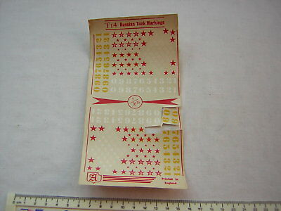 Part Used Almark WW2 Russian Stars & Numbers decals Scale 1:72 / 20mm