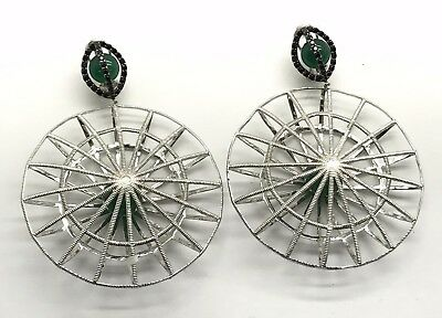 Sterling Silver Caged Round Green Chalcedony Onyx Webbed Chunky Dangle Earrings