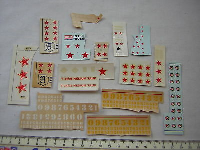Almark / Airfix / Skytrex WW2 Russian Stars & Numbers decals Scale 1:72 / 20mm