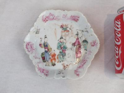 18Th C Chinese Porcelain Famille Rose Figures Teapot Stand / Dish