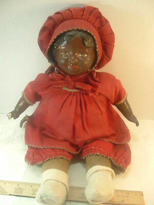 """Vintage Black Americana Doll Composition Cloth Marked """"c"""" Cries Momma ?"""