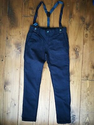 Ted Baker navy blue slim trousers with braces attached in age 9 Years. Mint