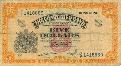 The Chartered Bank Hong Kong  $5 ND   VF