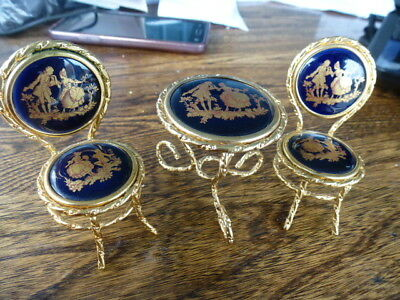 Limoges Miniature Table And Chairs, Cobalt  And Gold