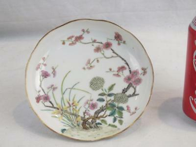 Fine 19Th C Chinese Porcelain Famille Rose Flowering Branches Dish - Red Mark