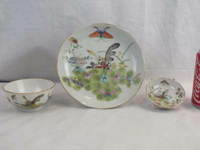 Antique Chinese Porcelain Butterflies Bowl, Saucer Dish & Small Dish - Marks