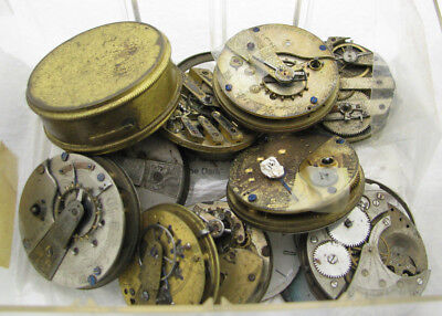 Large Lot Of Antique 10+ Key Wind Pocket Watch Movement Parts Repair
