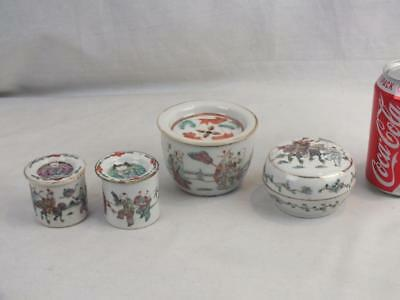 Four Antique Chinese Porcelain Famille Rose Figures Boxes And Covers