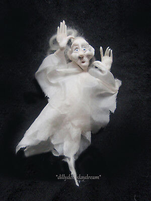 Miniature Ooak, Handmade Poseable Scarey GHOST Doll House Doll by Sally Freeman