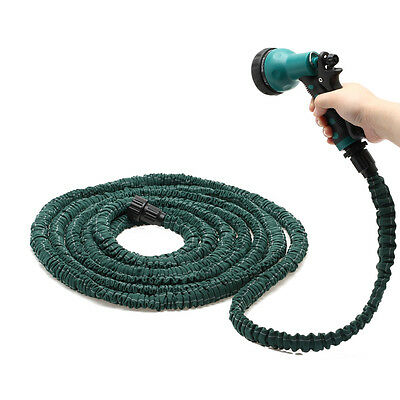 Latex 25 Feet Expanding Flexible Garden Water Hose Pipe& Nozzle Sprayer