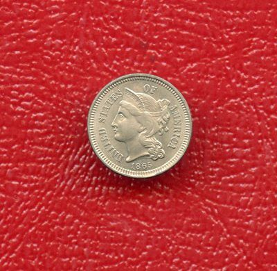 1865 ~ 3 Cent Nickel ~ Circulated ~ Nice Coin With Lots Of Details Remaining