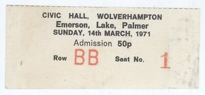 Emerson Lake and Palmer 3/14/71 Wolverhampton England Concert Ticket Stub! & ELP