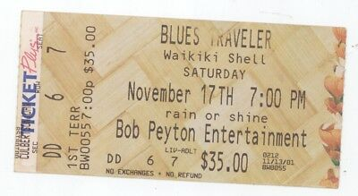 RARE Blues Traveler 11/17/01 Honolulu HI Waikiki Shell Concert Ticket Stub!