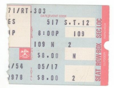 Jefferson Starship 5/17/78 Richfield Coliseum Ticket Stub! Cleveland Airplane
