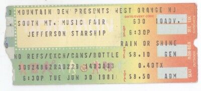 Rare JEFFERSON STARSHIP 6/30/81 W Orange NJ Concert Ticket Stub! Airplane