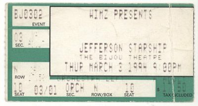 Jefferson Starship 3/3/94 Knoxville Bijou Theater Concert Ticket Stub! Airplane