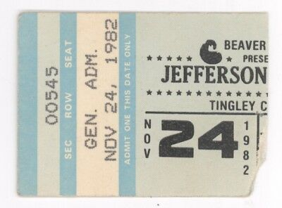 RARE Jefferson Starship 11/24/82 Albuquerque NM Concert Ticket Stub! Airplane