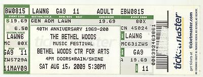 JEFFERSON STARSHIP LEVON HELM 10 YEARS AFTER COUNTRY JOE 8/15/09 Ticket!