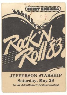 Jefferson Starship 5/28/83 Santa Clara CA Great America Ticket Stub! Airplane
