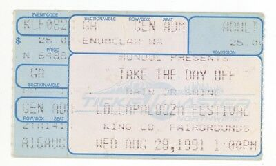 Janes Addiction Siouxsie NIN Butthole Surfers Rollins Band 8/29/91 Ticket Stub!