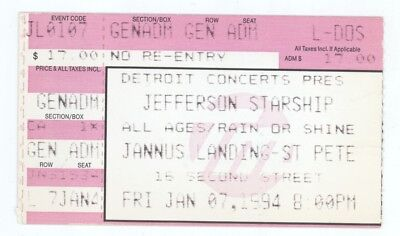 RARE Jefferson Starship 1/7/94 St Petersburg FL Concert Ticket Stub! Airplane