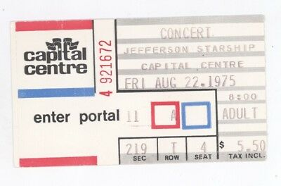 Jefferson Starship 8/22/75 Washington DC Capital Centre Ticket Stub! Airplane