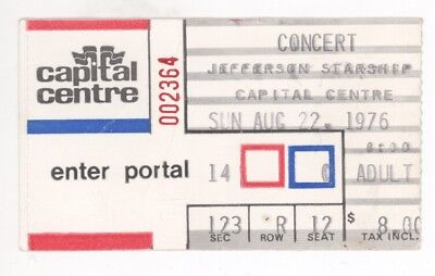 Jefferson Starship 8/22/76 Washington DC Capital Centre Ticket Stub! Airplane