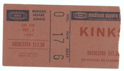 The Kinks 10/3/81 New York City NY Madison Square Garden Ticket Stub! MSG