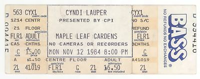 CYNDI LAUPER 11/12/84 Toronto Canada Maple Leaf Gardens FULL Concert Ticket!