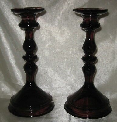 Paden City Mulberry Tall Taper Candle Holders Pair