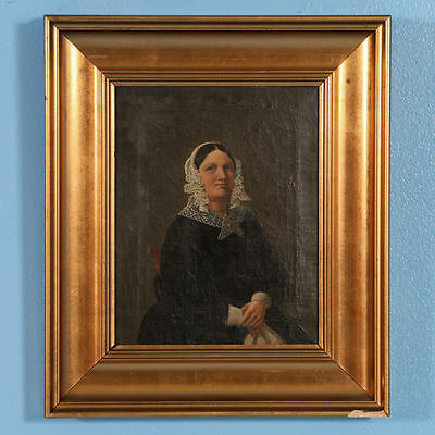 Small Original 19th Century Antique Oil Painting, Portrait of Woman, circa 1840