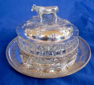 Martin Hall & Co 3 pc Silverplate Butter Dish Cow Finial Glass Bowl England NICE