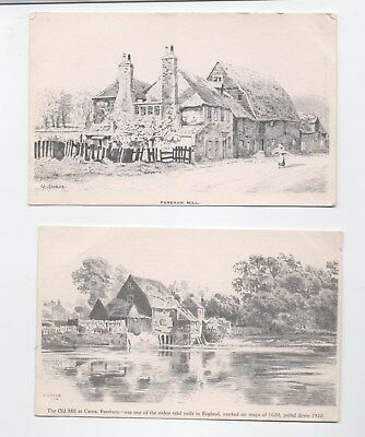 Early M Snape art postcards Fareham Mill Cams Hampshire