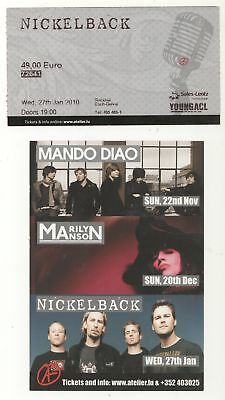 NICKELBACK 1/27/10 Luxembourg BIG Ticket Stub & Concert Flyer! Marilyn Manson
