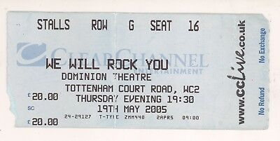 WE WILL ROCK YOU Queen Tribute Show 5/19/05 London England Concert Ticket Stub!