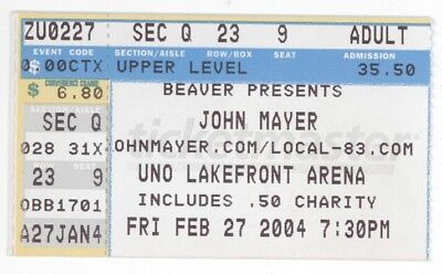 RARE John Mayer 2/27/04 New Orleans UNO Lakefront Arena Concert Ticket Stub!