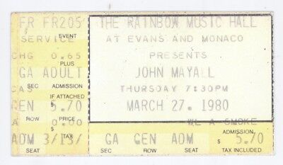 RARE John Mayall 3/27/80 Denver CO Rainbow Music Hall Concert Ticket Stub!