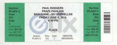 Rare PAUL RODGERS 6/6/14 Dayton OH Concert Ticket! Bad Company Queen