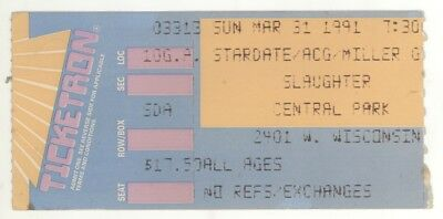 Rare SLAUGHTER 3/31/91 Milwaukee WI Concert Ticket Stub!