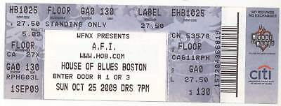 Rare A FIRE INSIDE 10/25/09 Boston MA House of Blues Concert Ticket! AFI
