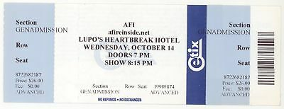 Rare A FIRE INSIDE 10/13/09 Hartford CT Webster Theater Concert Ticket! AFI