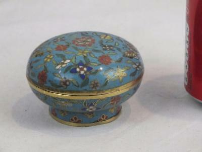 Small 19Th C Chinese Gilt Metal Butterlflies Cloisonne Box And Cover