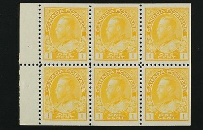105b  Booklet pane of 6, 1 cent Admiral yellow VF H