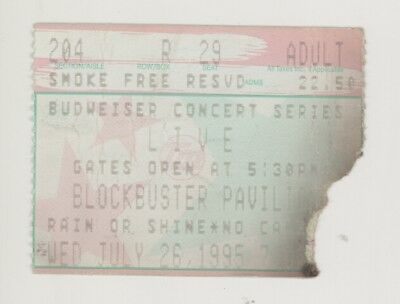 RARE Live the band 7/26/95 Charlotte NC Concert Ticket Stub!