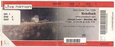 Rare NICKELBACK 7/24/09 Mansfield MA BIG Live Nation Concert Ticket! Boston