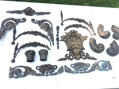 Vintage Victorian Solid Brass Bed Headboard Trim Cherub Art Nouveau Repurpose