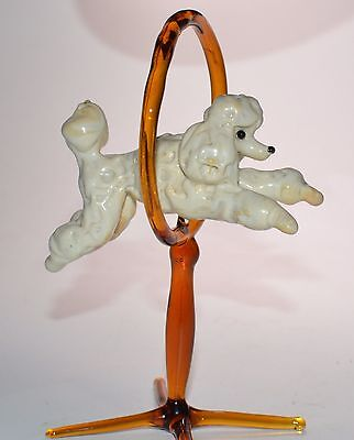 Hand made lampwork glass dog bead ( figurine ) - Jumping White Poodle
