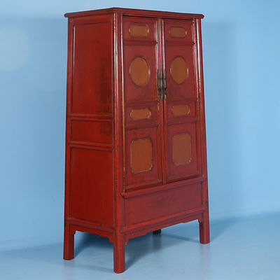19th Century Antique Lacquered Chinese Cabinet with Original Red/Orange Paint